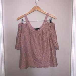 White House Black Market Blush Pink Lace Top